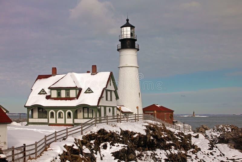 Faro de la cabeza de Portland, cabo Elizabeth, Maine fotos de archivo