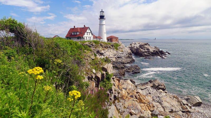 Faro de la cabeza de Portland, cabo Elizabeth, Maine imágenes de archivo libres de regalías