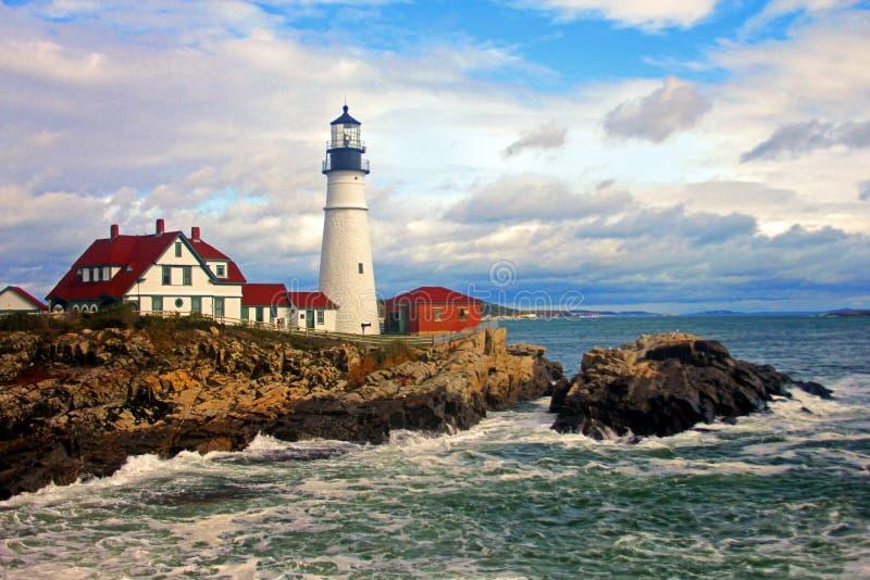 Faro de la cabeza de Portland, cabo Elizabeth, Maine fotografía de archivo
