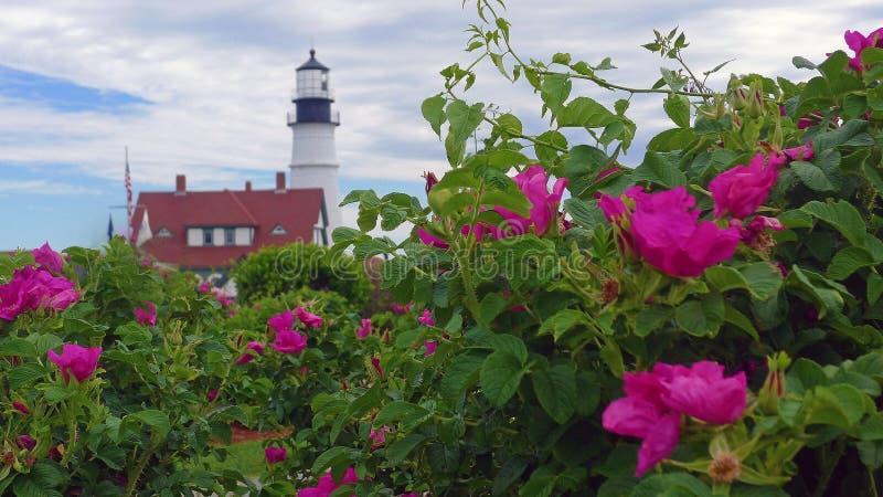 Faro de la cabeza de Portland, cabo Elizabeth, Maine imagen de archivo