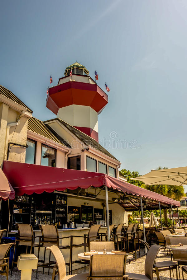 Faro de la ciudad del puerto en Hilton Head Carolina del Sur fotos de archivo libres de regalías