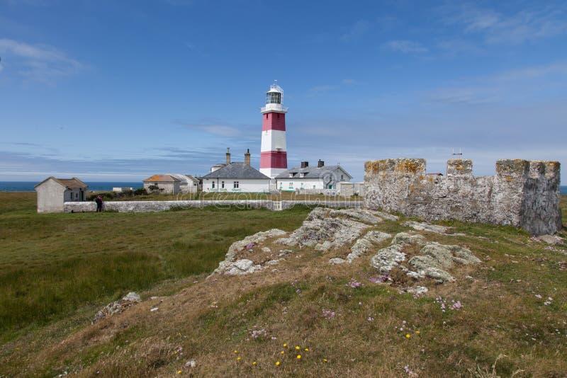 Faro de la isla de Bardsey imagenes de archivo