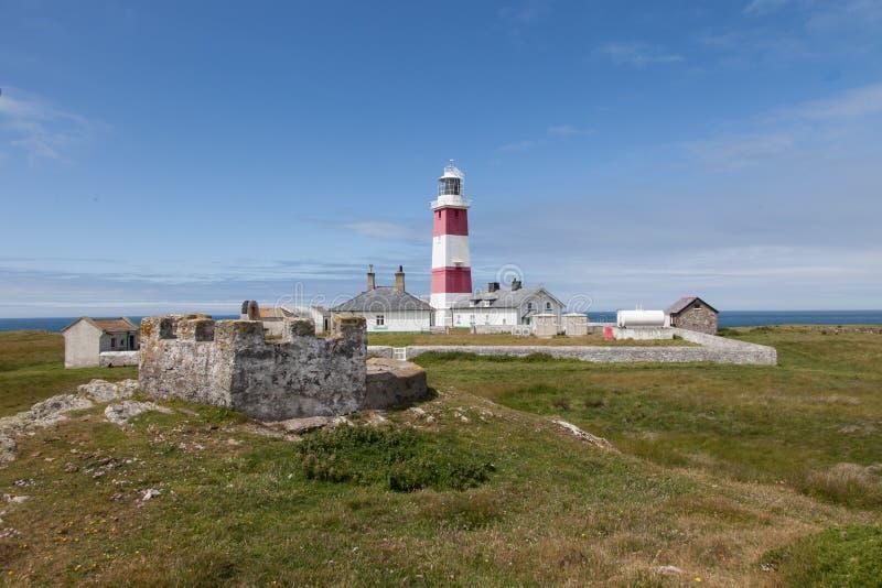 Faro de la isla de Bardsey fotos de archivo