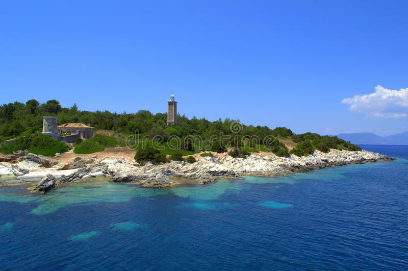 Faro de la isla de Kefalonia, Grecia imagenes de archivo