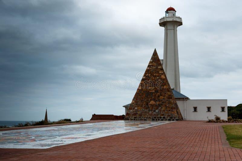 Faro de la reserva de Donkin en Port Elizabeth, Suráfrica imagen de archivo