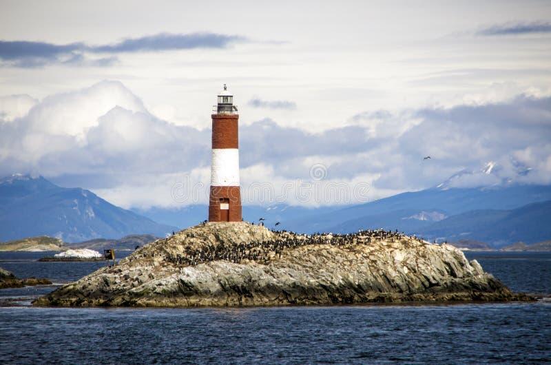 Faro de Les Eclaireurs, canal del beagle imagenes de archivo