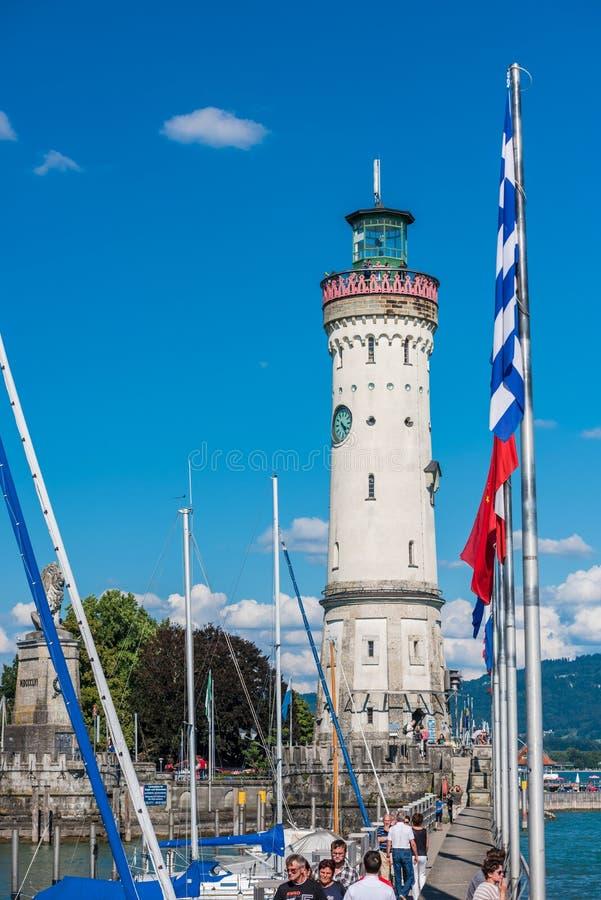 Faro de Lindau en el lago de Constanza, Bodensee foto de archivo libre de regalías