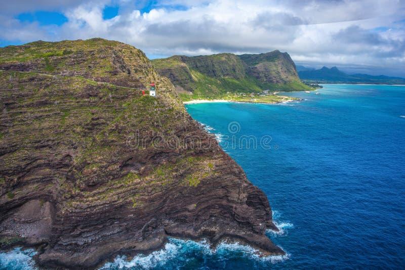 Faro de Makapuu y pista de senderismo Oahu, Hawaii imagen de archivo libre de regalías