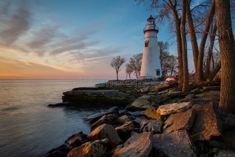 Faro de Marblehead en Ohio en el amanecer imagen de archivo libre de regalías