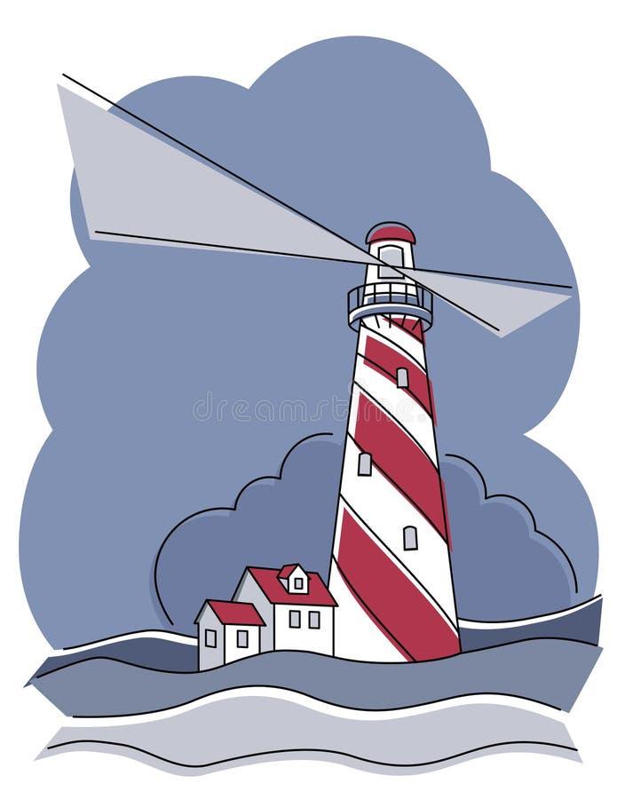 Faro de poste del peluquero stock de ilustración