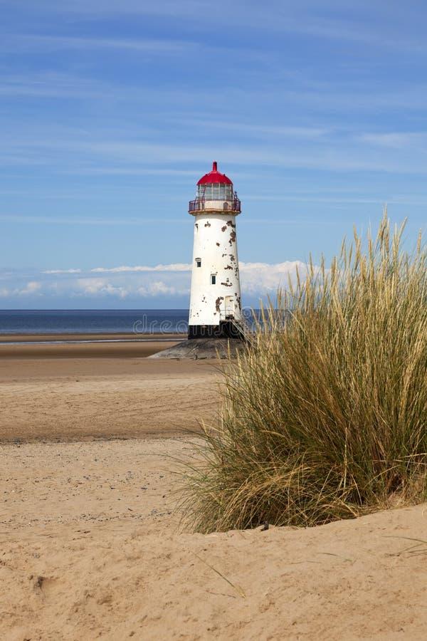Faro de Talacre, bahía de Liverpool, País de Gales del norte fotografía de archivo libre de regalías