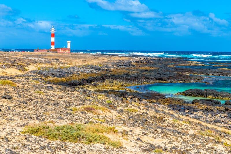 Faro de Toston - EL Cotillo, Fuerteventura, España fotos de archivo