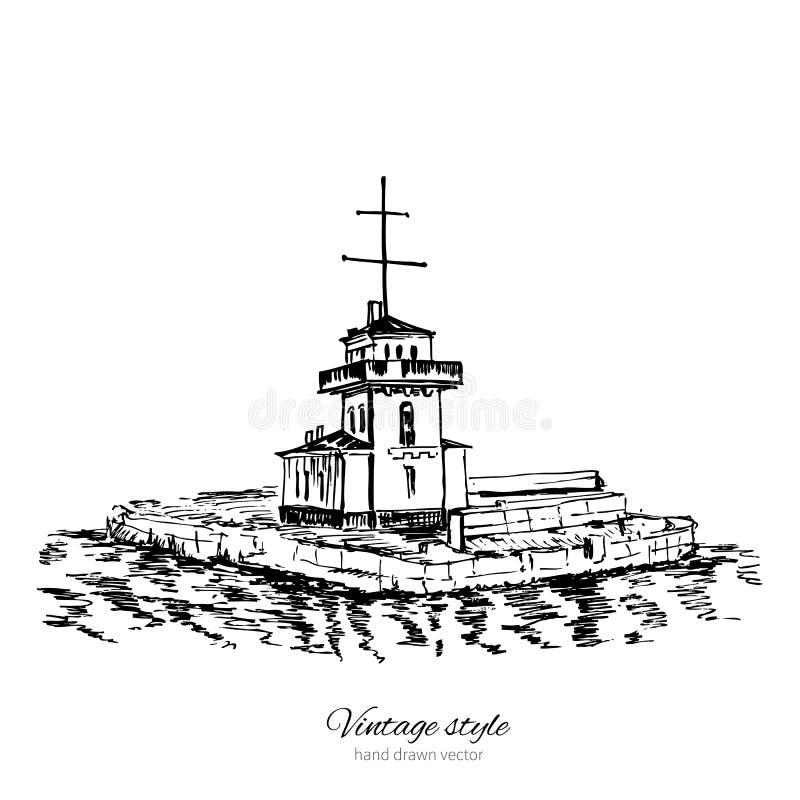 Faro de Vyborg, golfo finlandés, señal de St Petersburg, Rusia, mano dibujada grabando el ejemplo del vector aislado stock de ilustración