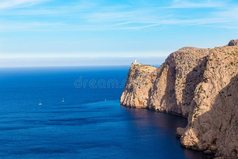 Faro del capo di Maiorca Formentor in Mallorca fotografie stock libere da diritti