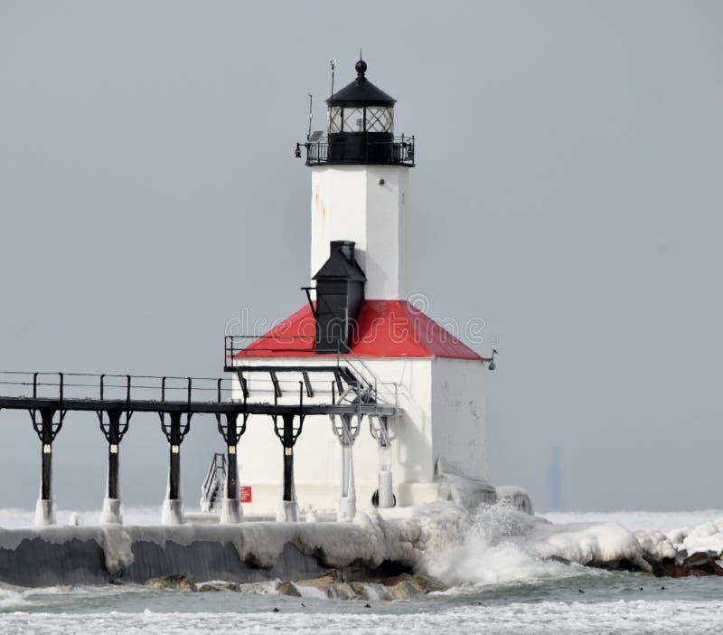 Faro #2 del frangiflutti della città del Michigan fotografia stock libera da diritti