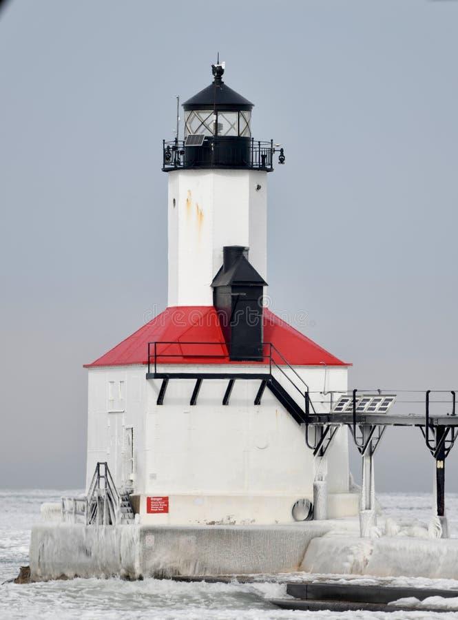 Faro #3 del frangiflutti della città del Michigan fotografie stock