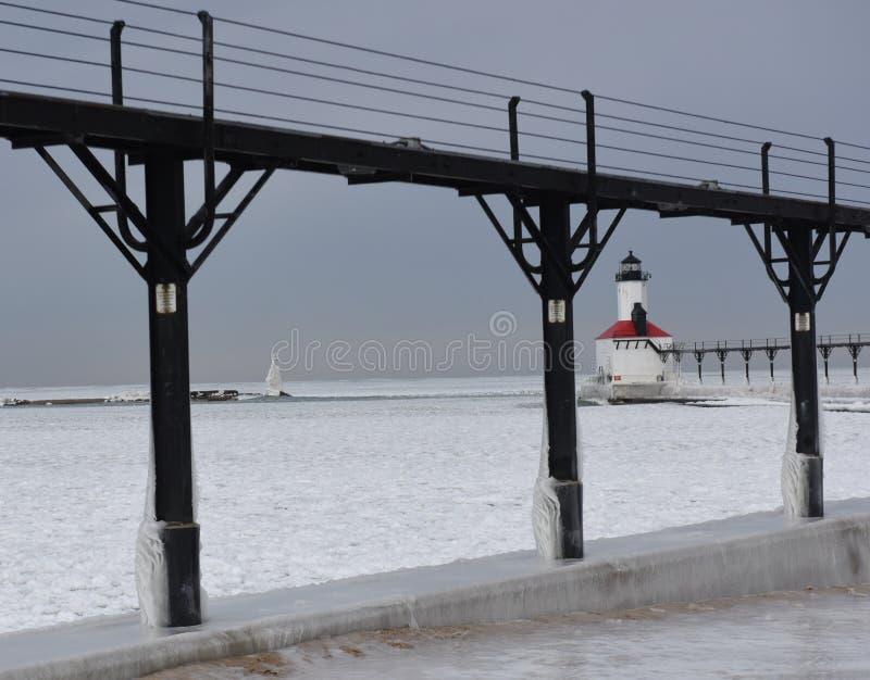 Faro #1 del frangiflutti della città del Michigan fotografia stock libera da diritti