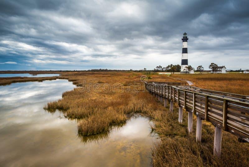 Faro del norte de la isla de Carolina Outer Banks Scenic Bodie imagen de archivo libre de regalías
