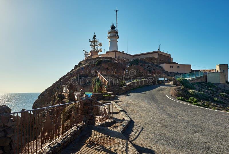 Faro del parco naturale di Cabo de Gata-Nijar spain fotografia stock