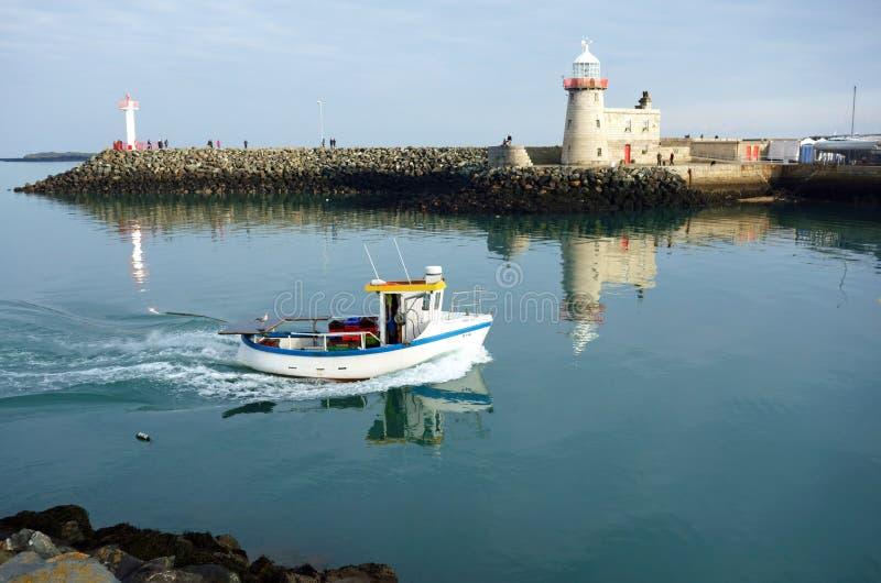 Faro del porto di Howth, penisola di Howth, contea Dublino, Irelan immagine stock libera da diritti