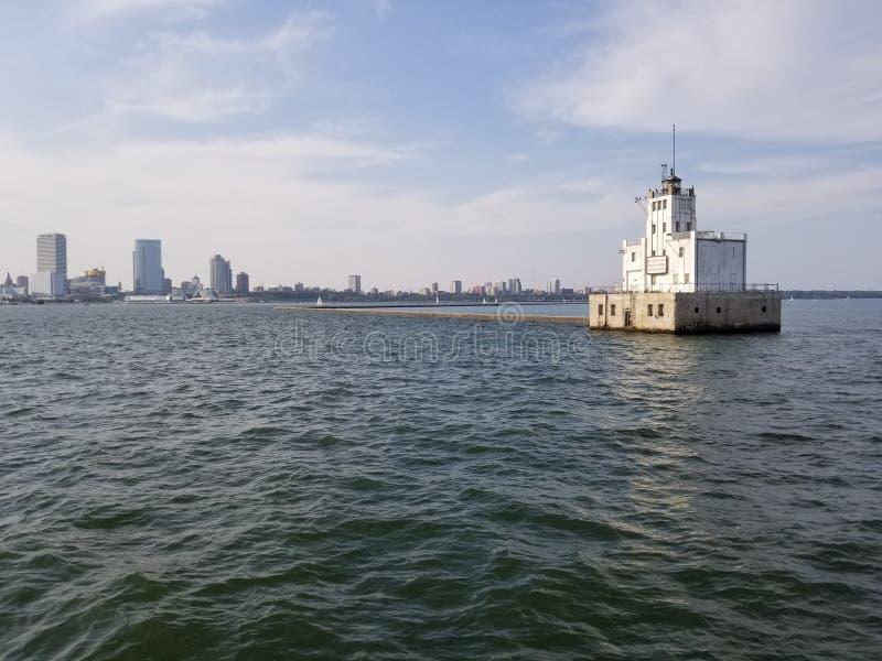 Faro del puerto de Milwaukee imagenes de archivo