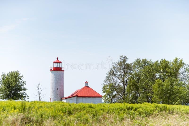 Faro del punto da nove miglia sull'isola di Simcoe, Ontario immagine stock