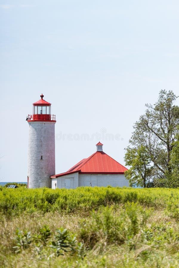 Faro del punto da nove miglia sull'isola di Simcoe, Ontario fotografia stock