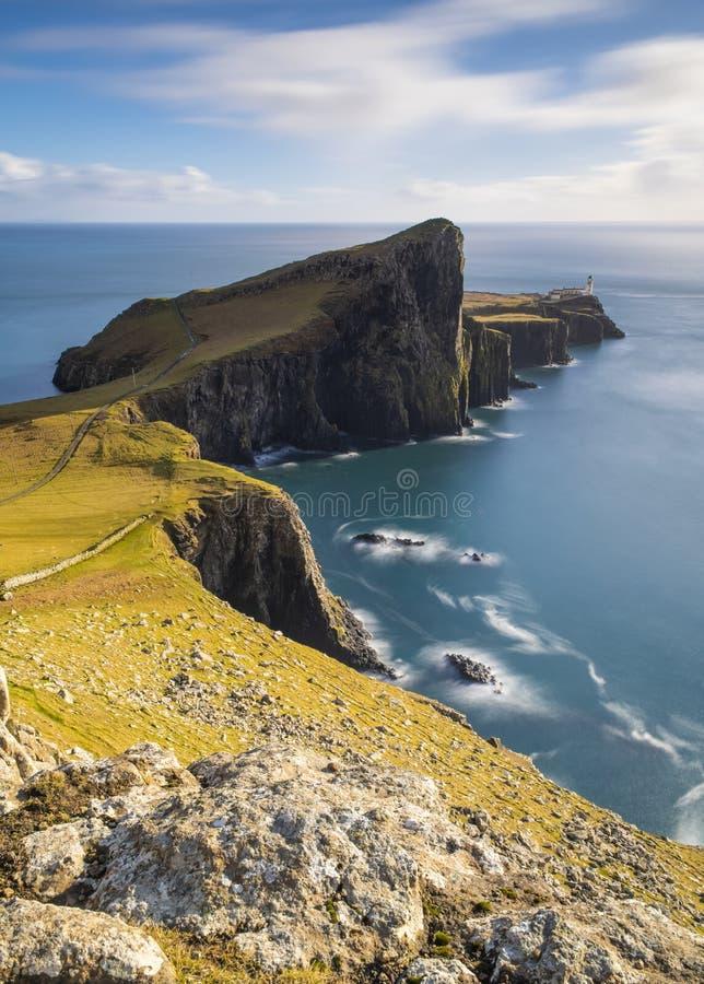 Faro del punto de Neist en la isla de Skye fotografía de archivo