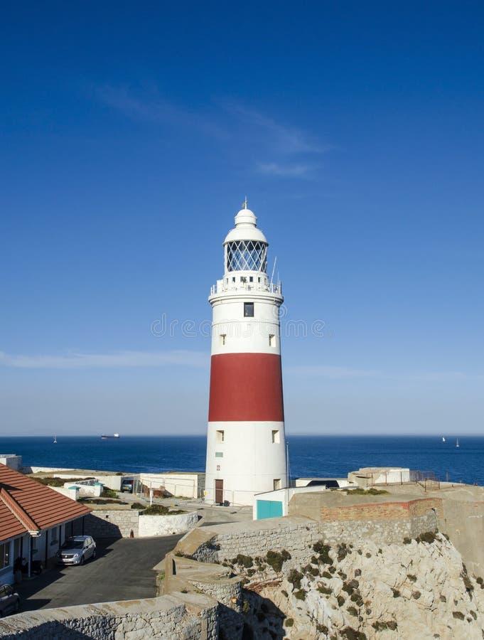 Faro del punto di europa & x28; Faro della trinità o Victoria Tower & x29; gibraltar fotografie stock