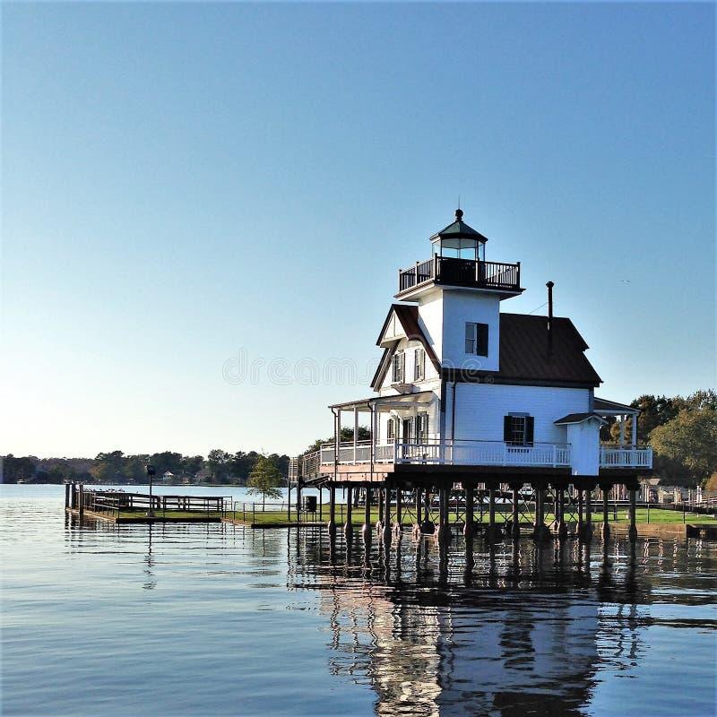 Faro 1886 del río de Roanoke en el sonido de Albemarle fotos de archivo