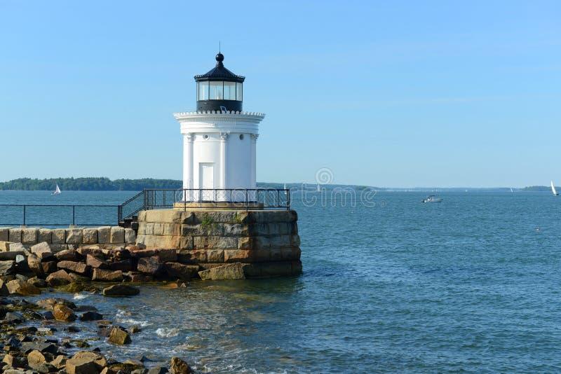 Faro del rompeolas de Portland, Maine imagen de archivo
