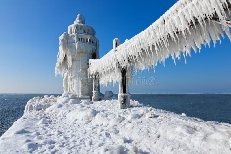 Faro del St. Joesph en hielo foto de archivo
