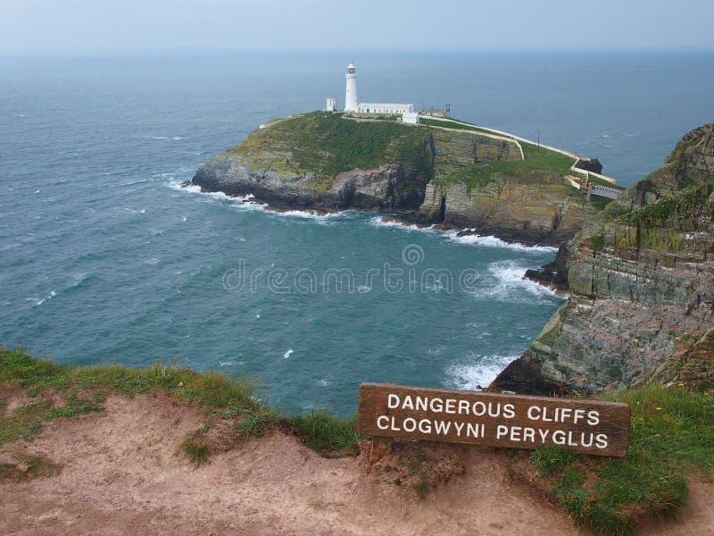 Faro del sud della pila, Galles del nord fotografia stock libera da diritti