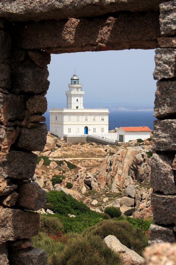 Faro del Testa de la ceja en Sardegna fotografía de archivo libre de regalías