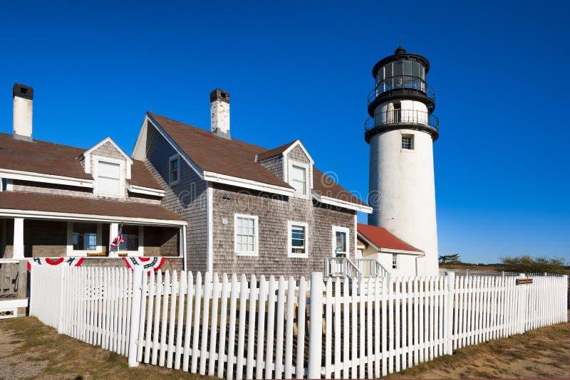 Faro dell'altopiano di Cape Cod in Massachusetts fotografie stock libere da diritti