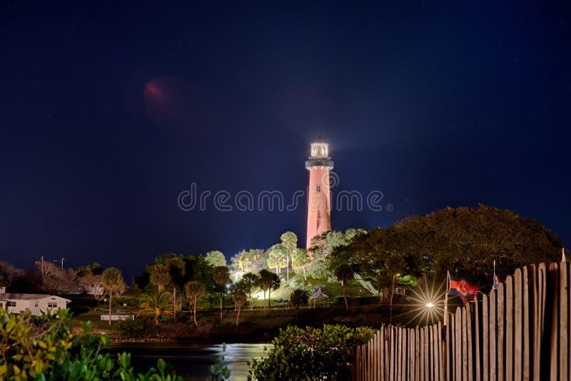 Faro dell'entrata di Giove Florida alla notte immagine stock