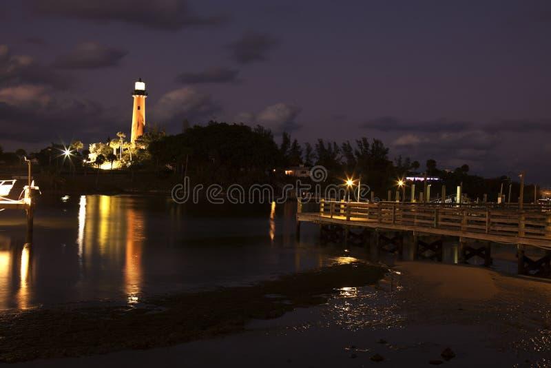 Faro dell'ingresso del Jupiter in Florida fotografia stock