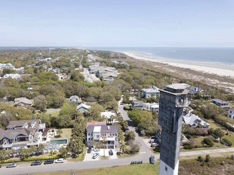 Faro dell'isola del ` s di Sullivan a Charleston, Carolina del Sud immagini stock
