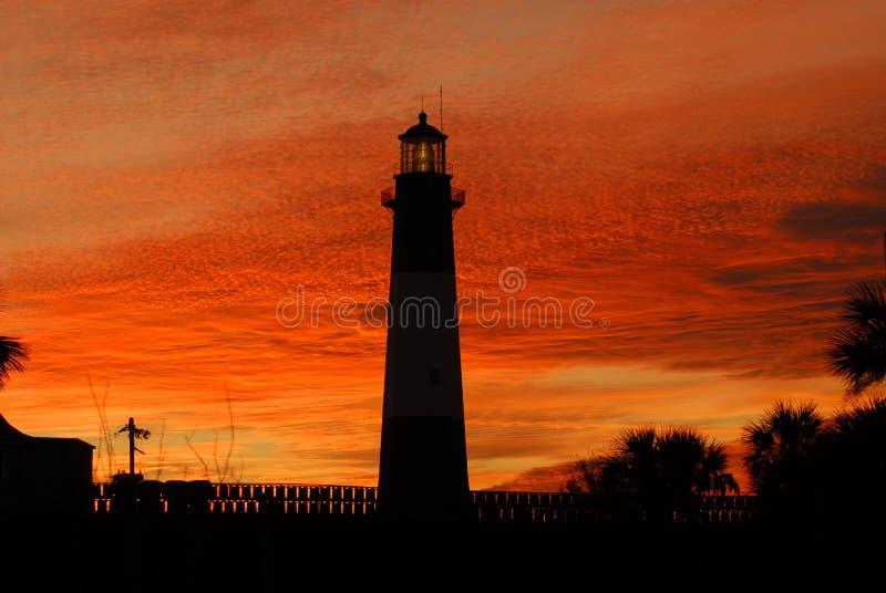 Faro dell'isola di Tybee al tramonto fotografia stock