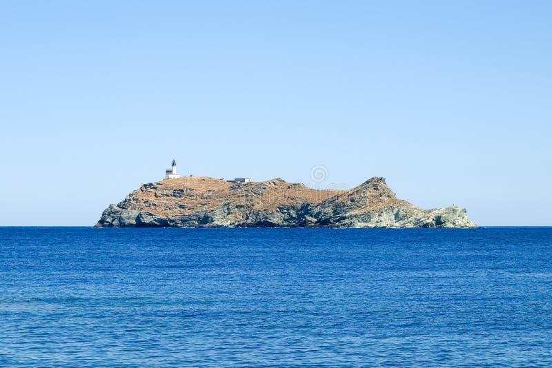 Faro dell'isola Giraglia fotografie stock