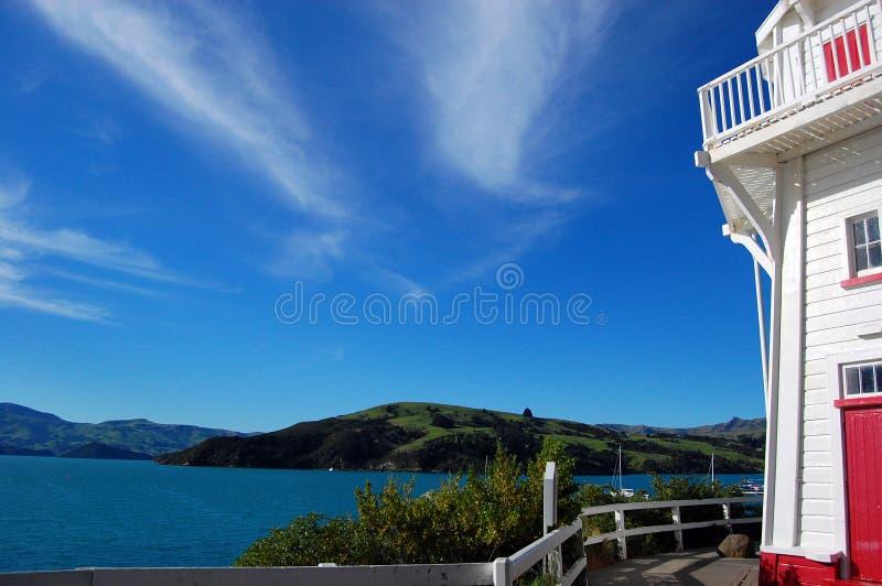 Faro della baia di Akaroa immagini stock libere da diritti