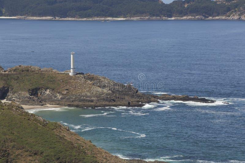 Faro della casa di Cabo in Galizia, Spagna fotografia stock