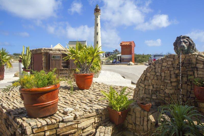 Faro di Aruba, i Caraibi, California fotografia stock
