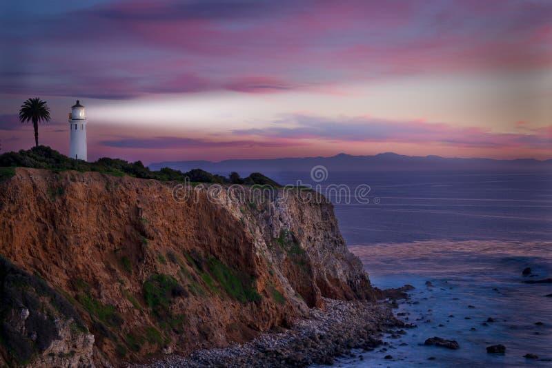 Faro di California del sud al tramonto fotografia stock