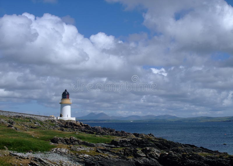 Faro di Charlotte della porta, Islay, Scozia fotografia stock libera da diritti