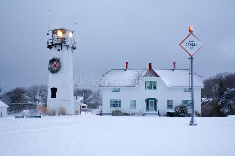 Faro di Chatham in inverno fotografie stock