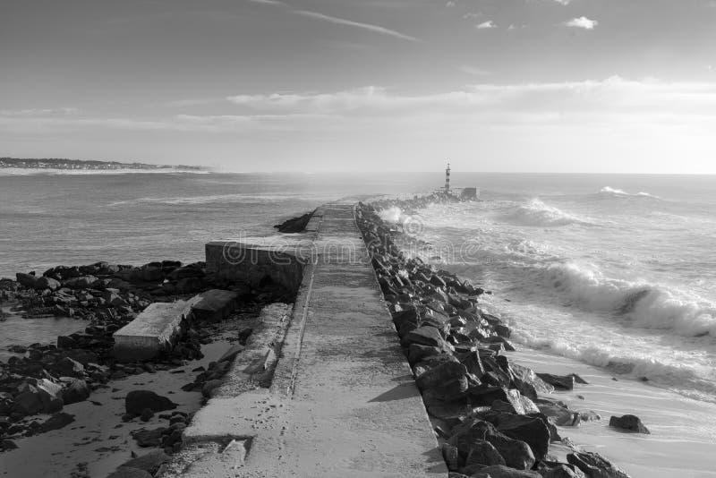 Faro di fotografia di vista sul mare di Vila do Conde immagini stock
