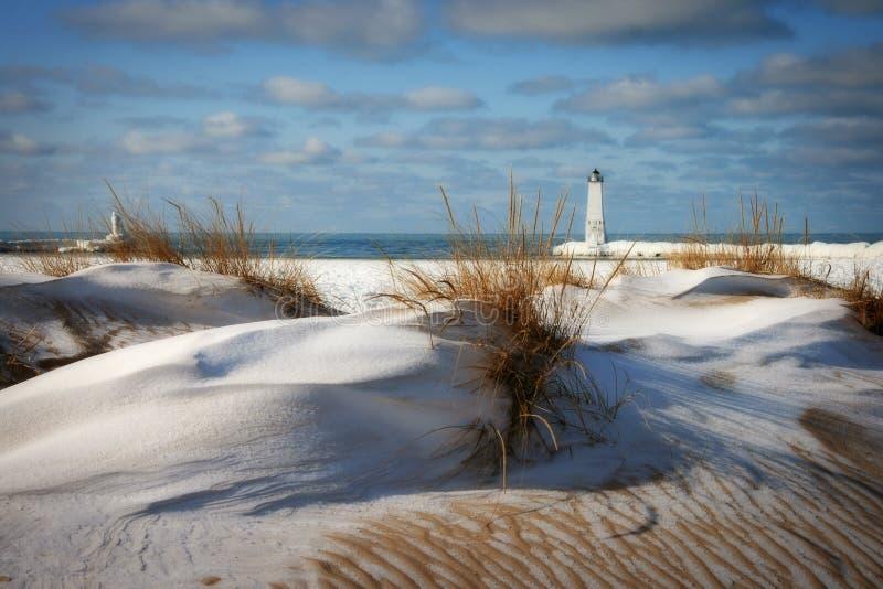 Faro di Frankfort, Michigan fotografia stock