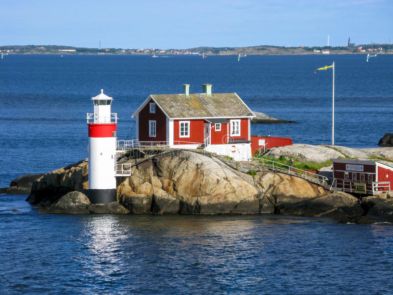 Faro di Gaveskar a Gothenburg, Svezia immagine stock libera da diritti