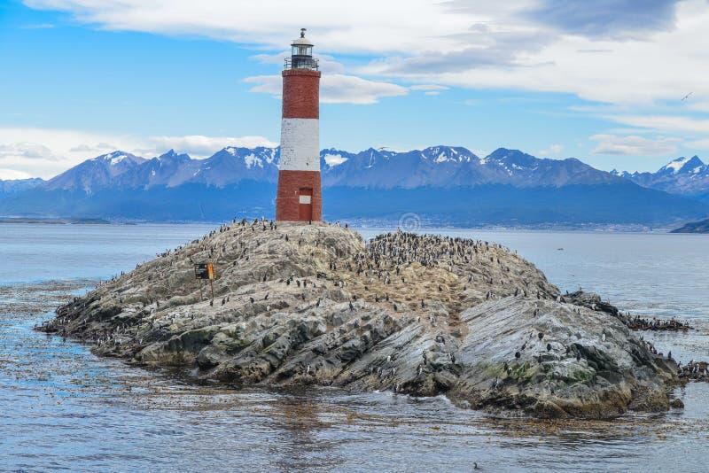 Faro di Les Eclaireurs Sosta nazionale del Tierra del Fuego fotografie stock